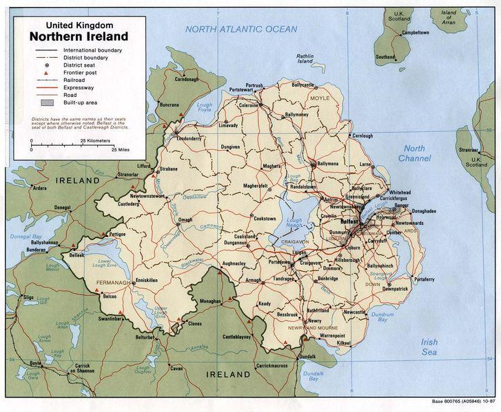Mapa Severního Irska