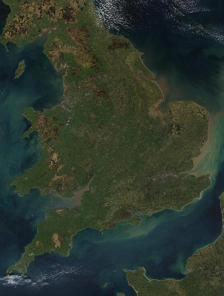 satelitni snímek Anglie
